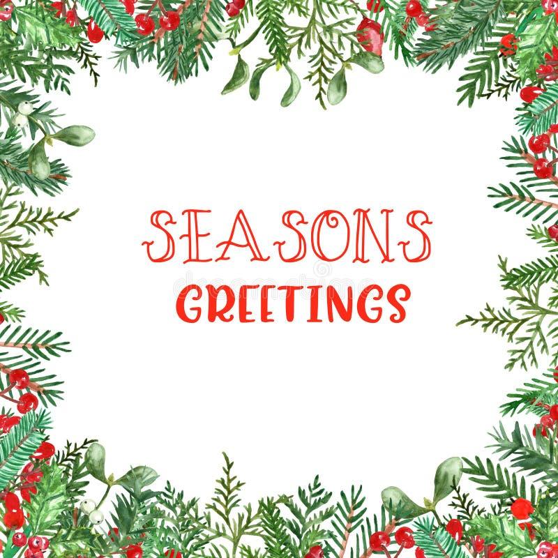 Holiday zimowy baner z zielenią akwarelową i czerwonymi jagniętami, z przestrzenią na tekst Świąteczna granica z drzewem sosnowym zdjęcie royalty free