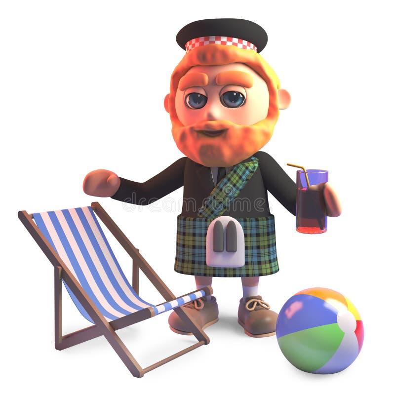 Holidaying шотландский человек в килте с deckchair и напитком, иллюстрацией 3d бесплатная иллюстрация
