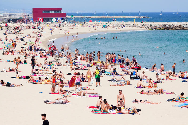 Holidaymakers Sunbathing At Bogatell Beach Editorial Stock Image - Image: 361...