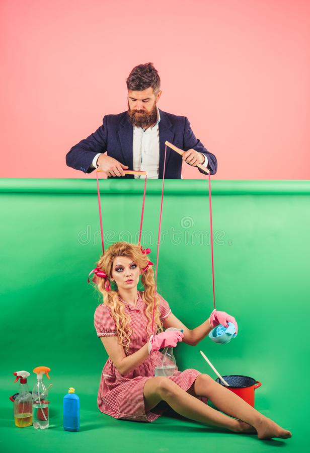Free Holidays And Doll. Dominance And Dependence. Housewife. Creative Idea. Love. Retro Girls And Master At Party. Vintage Stock Image - 133409291