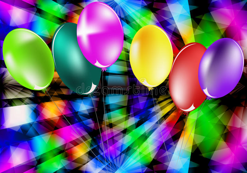Holidays background. Abstract celebratory illustration with balloons for placing of your text stock illustration