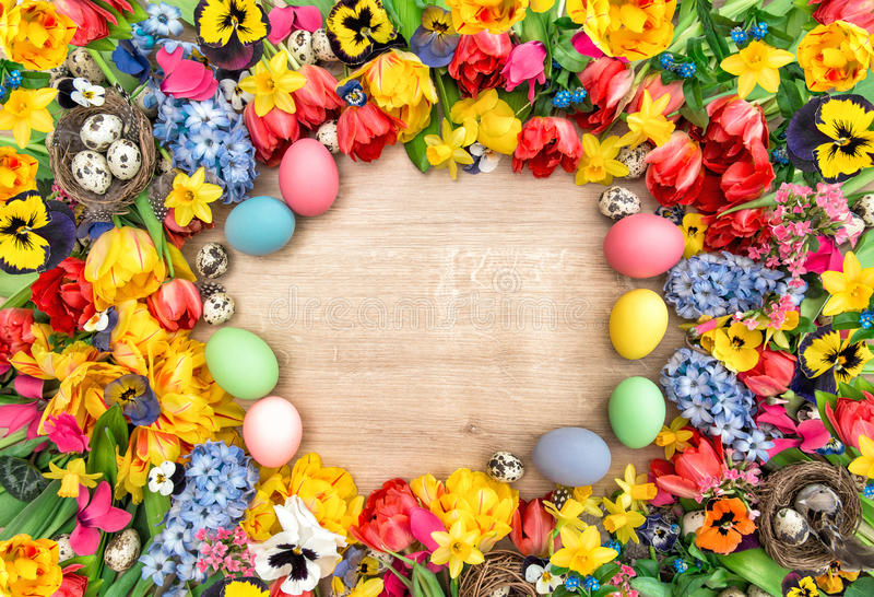 Holidays background with spring flowers and easter eggs. Tulips. Narcissus, hyacinth and pansy blossoms stock images