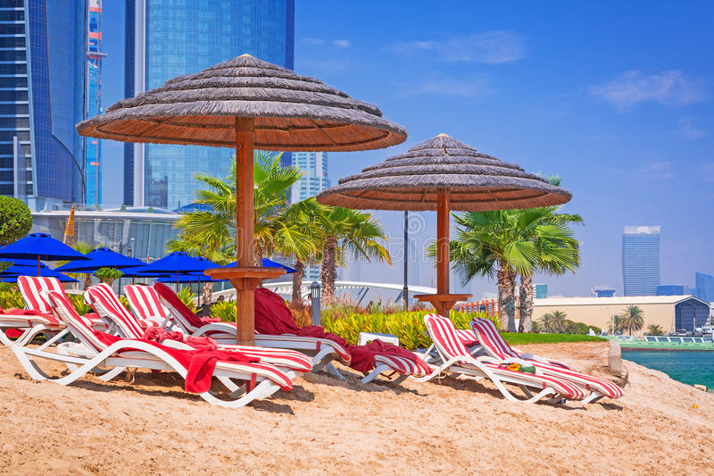 Holidays on the beach in Abu Dhabi, United Arab Emirates. Beach in Abu Dhabi, the capital of United Arab Emirates stock photo