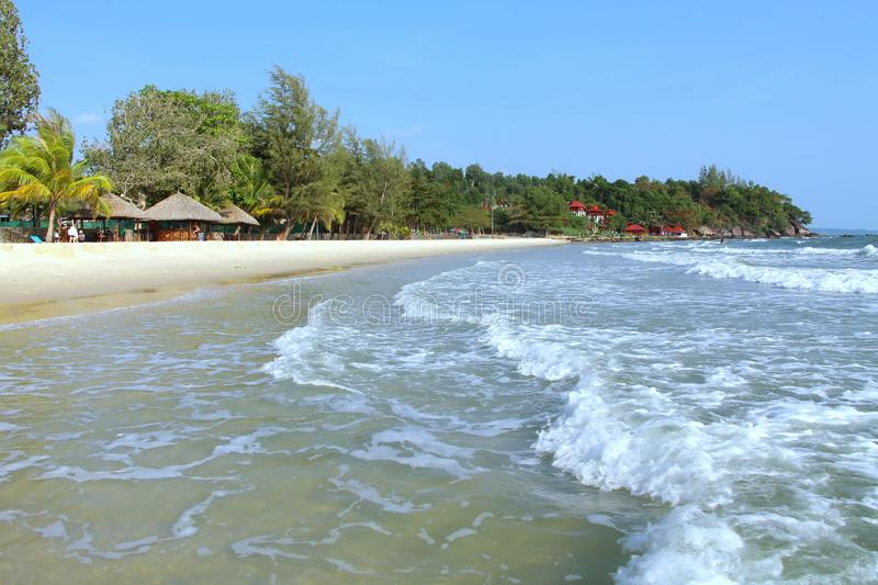 Holidays in Cambodia. Beautiful view from the beach. Awesome world of travel. Summer rest. stock photography