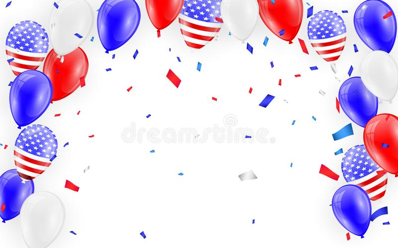 Holidays card design. American flag balloons with confetti background. Vector illustration royalty free illustration