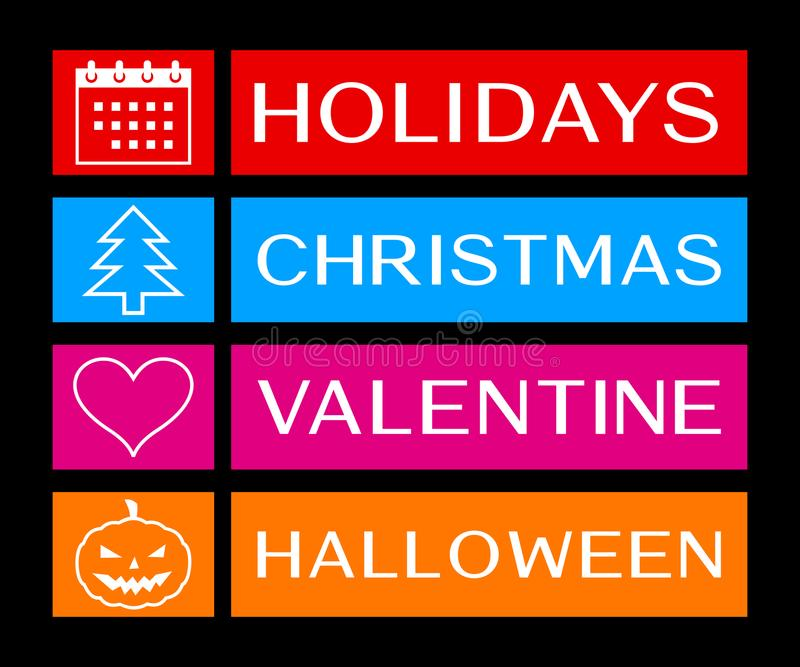 Holidays, christmas, valentine and halloween banners royalty free illustration