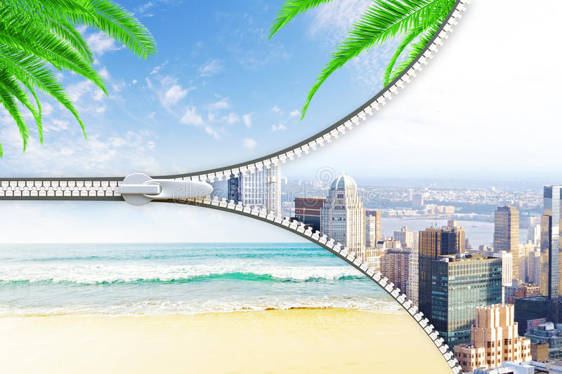 Holidays concept. Abstract image of beach and city with zip. Holidays concept. 3D Rendering royalty free illustration