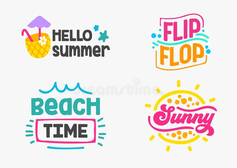 Holidays Design Badges with Doodle Elements and Typography Set. Vacation, Party, Travel, Tropical Paradise, Adventure. Ad Posters Hello Summer, Sunny, Flip royalty free illustration