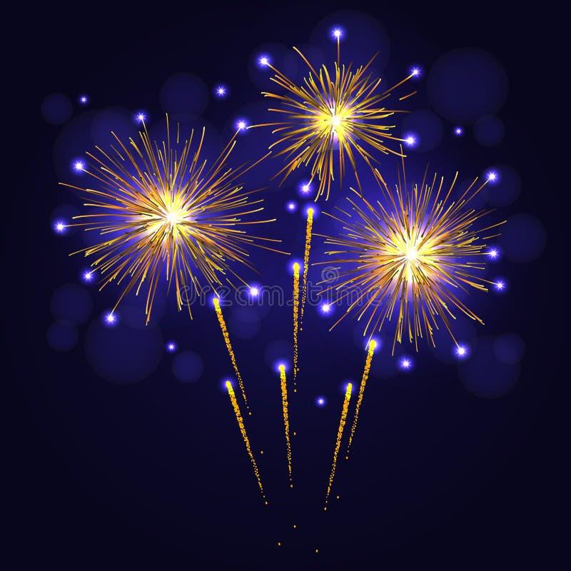 Holidays golden yellow vector fireworks stock photo