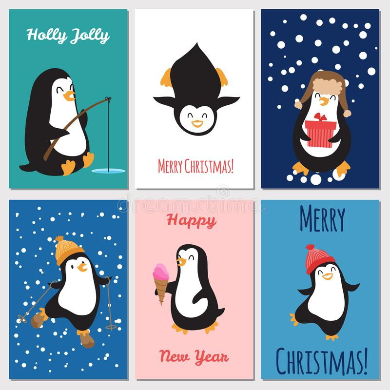Holidays greetings cards vector. Cute penguins Christmas cards vector illustration