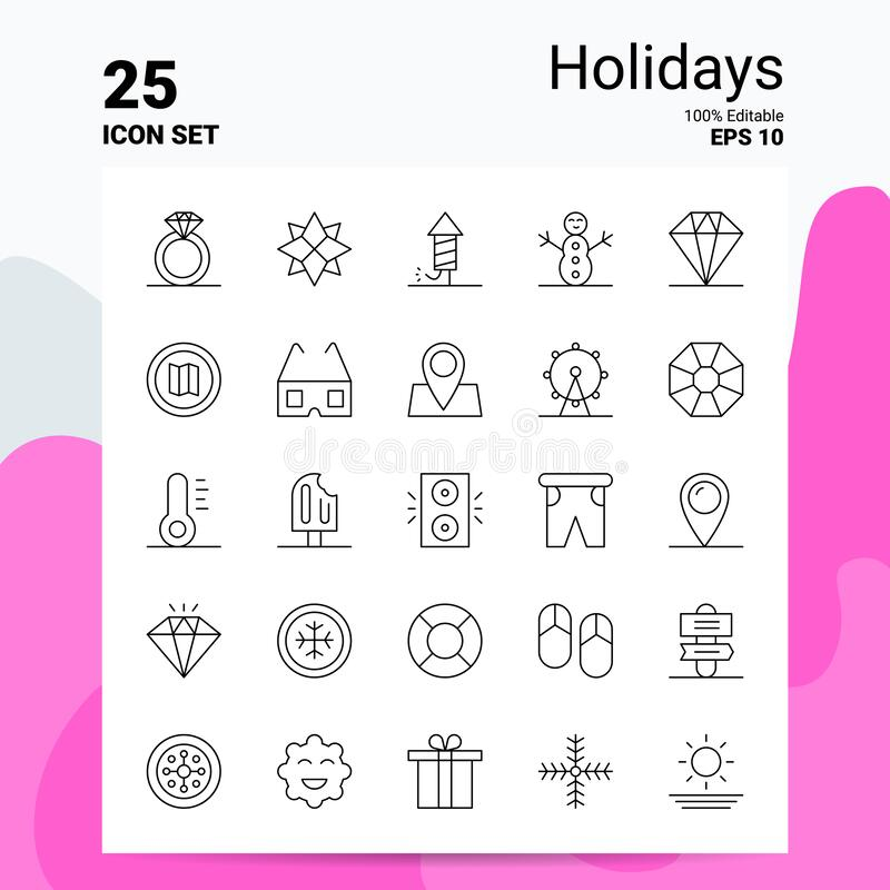 25 Holidays Icon Set. 100% Editable EPS 10 Files. Business Logo Concept Ideas Line icon design stock illustration