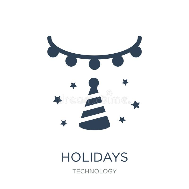 Holidays icon in trendy design style. holidays icon isolated on white background. holidays vector icon simple and modern flat. Symbol for web site, mobile, logo stock illustration