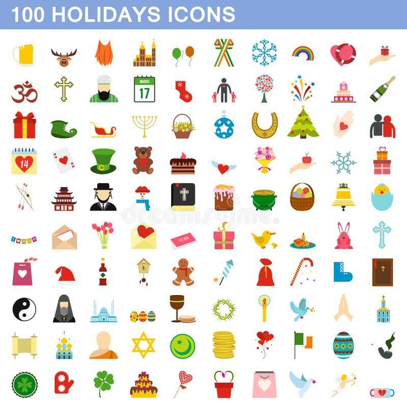 100 holidays icons set, flat style stock illustration