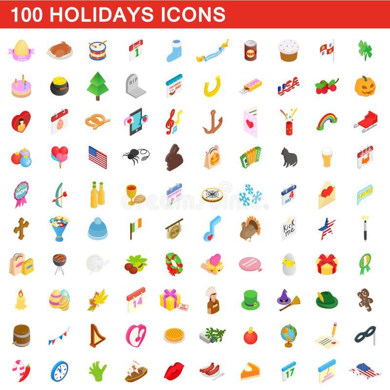 100 holidays icons set, isometric 3d style royalty free illustration