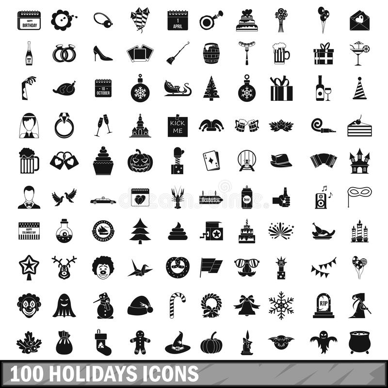 100 holidays icons set in simple style stock illustration
