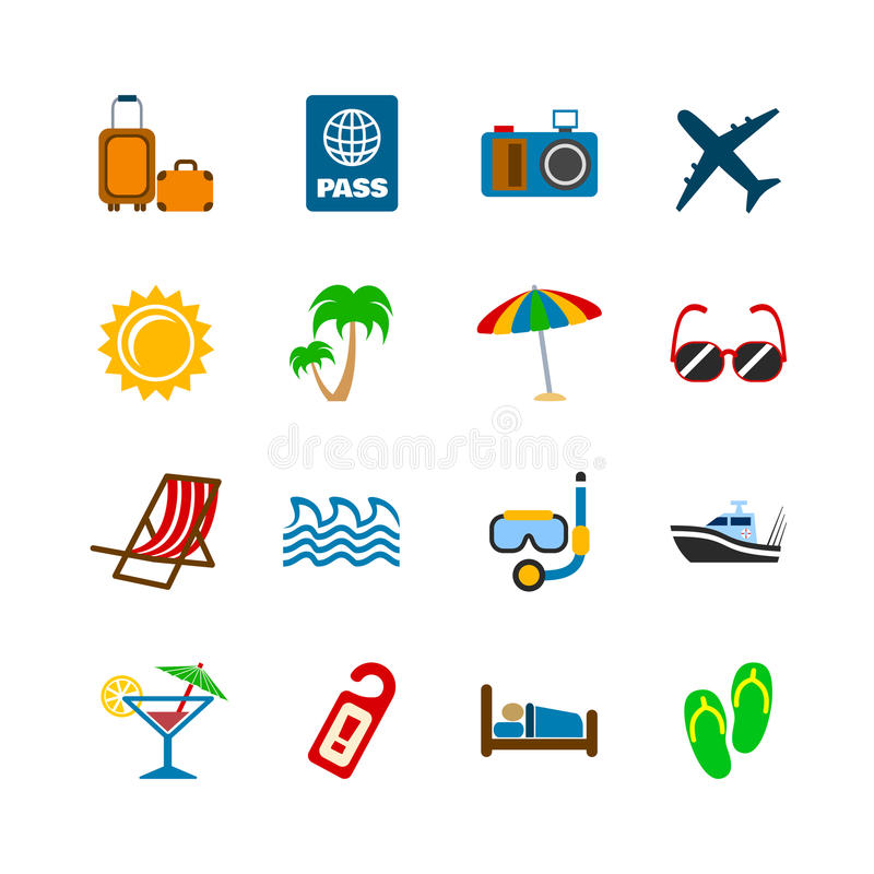 Holidays journey design elements. Of plane yacht bags and passport isolated vector illustration stock illustration