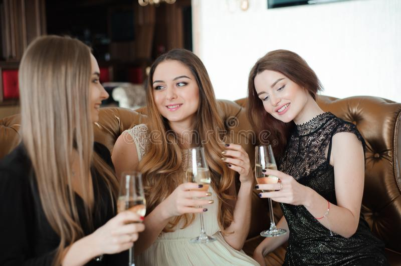 Holidays, nightlife, bachelorette party and people concept stock image