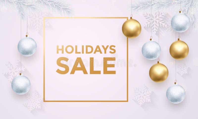 Holidays Sale white poster banner golden luxury Christmas balls royalty free illustration