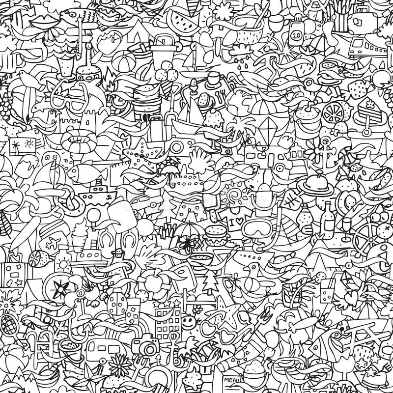 Holidays seamless pattern in black and white. (repeated) with mini doodle drawings (icons). Illustration is in eps8 vector mode royalty free illustration