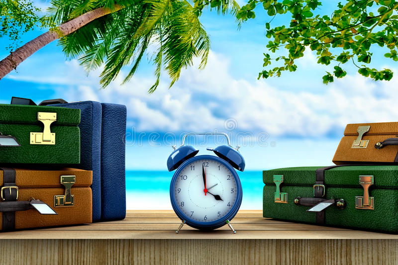 Holidays time. Three suitcases and a clock on a paradisical location royalty free illustration