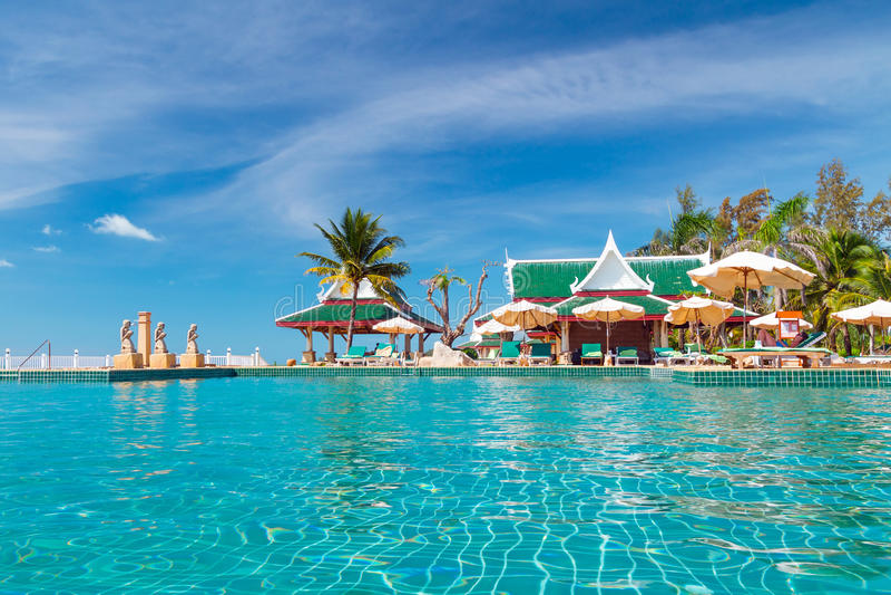 Download Holidays At Tropical Swimming Pool Stock Photo - Image: 29536080