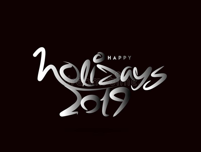 Holidays 2019 typography font design pattern. Vector illustration vector illustration