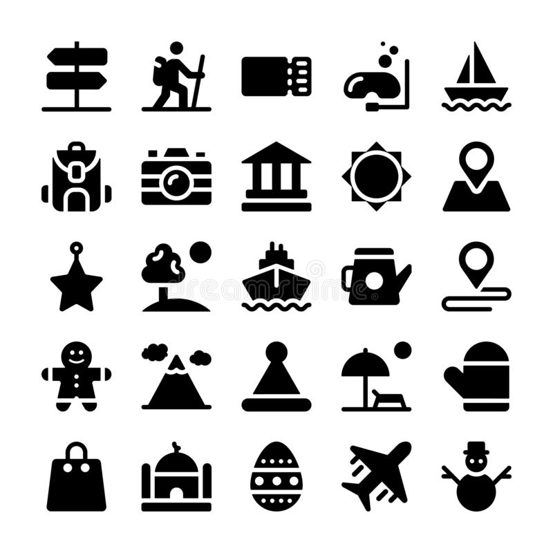Holidays and Vacations Solid Icons Set royalty free illustration