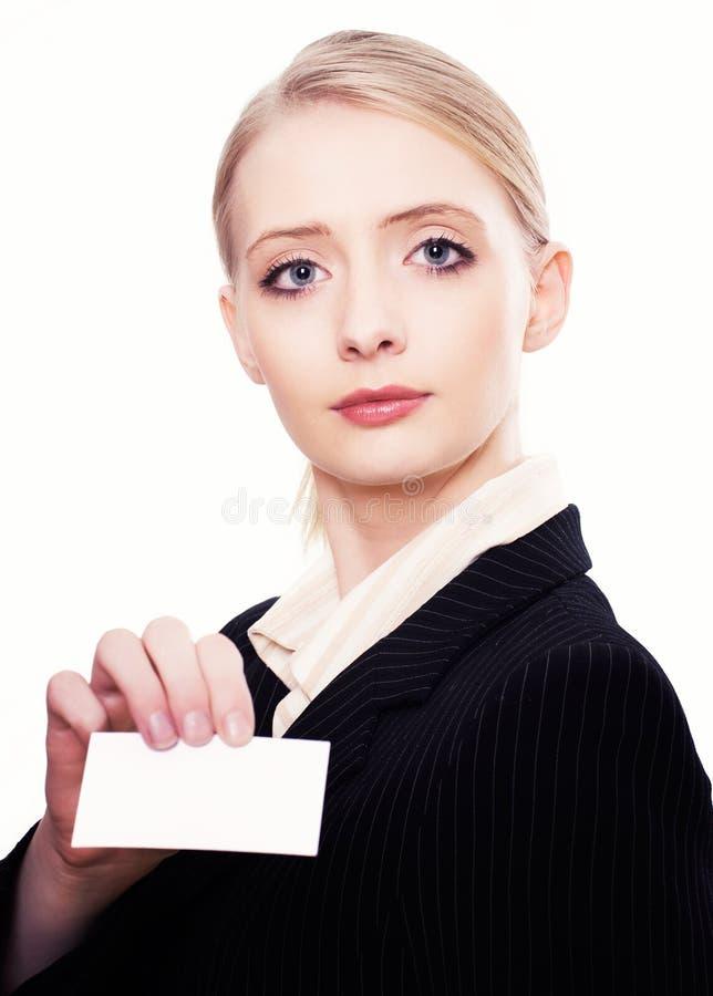 Holidng della donna di affari un biglietto da visita fotografia stock