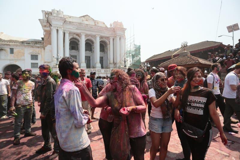 Holifestival in Nepal royalty-vrije stock foto's