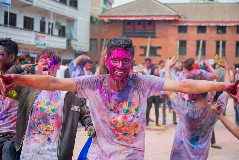 Holifestival van Kleurenviering in Katmandu Nepal stock fotografie
