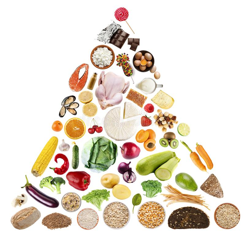 Holistic diet concept. Food pyramid on white background. Holistic diet concept royalty free stock photos