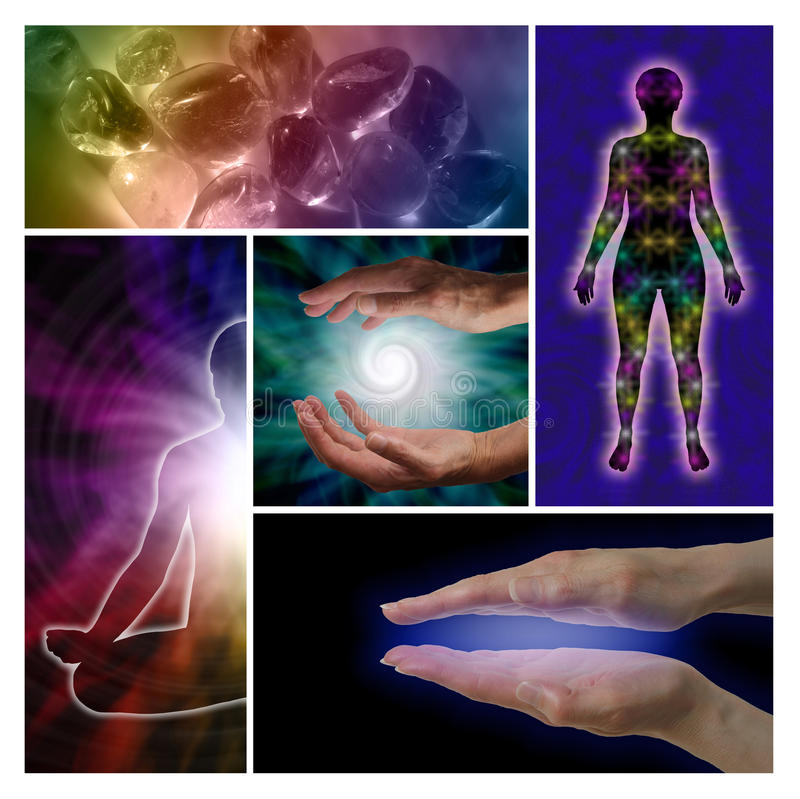 Holistic Healing Collage. Five cropped holistic images showing healing hands, rainbow crystals, spiral, chakras and lotus position royalty free stock photography