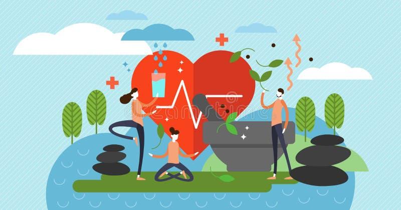 Holistic healing vector illustration. Alternative medicine and mindset royalty free illustration