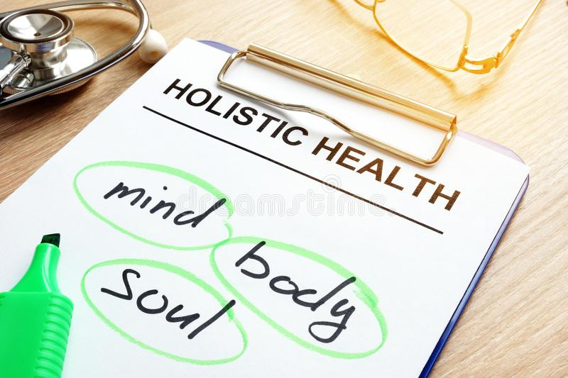 Holistic health and words mind, body and soul. stock photos