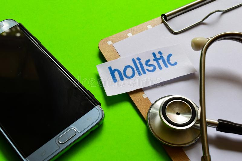 Holistic on Healthcare concept with green background royalty free stock photos