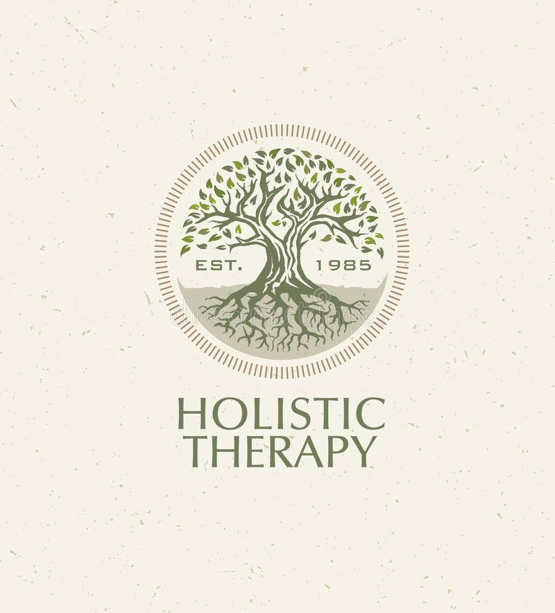 Holistic Therapy Tree With Roots On Organic Paper Background. Natural Eco Friendly Medicine Vector Concept.  royalty free illustration