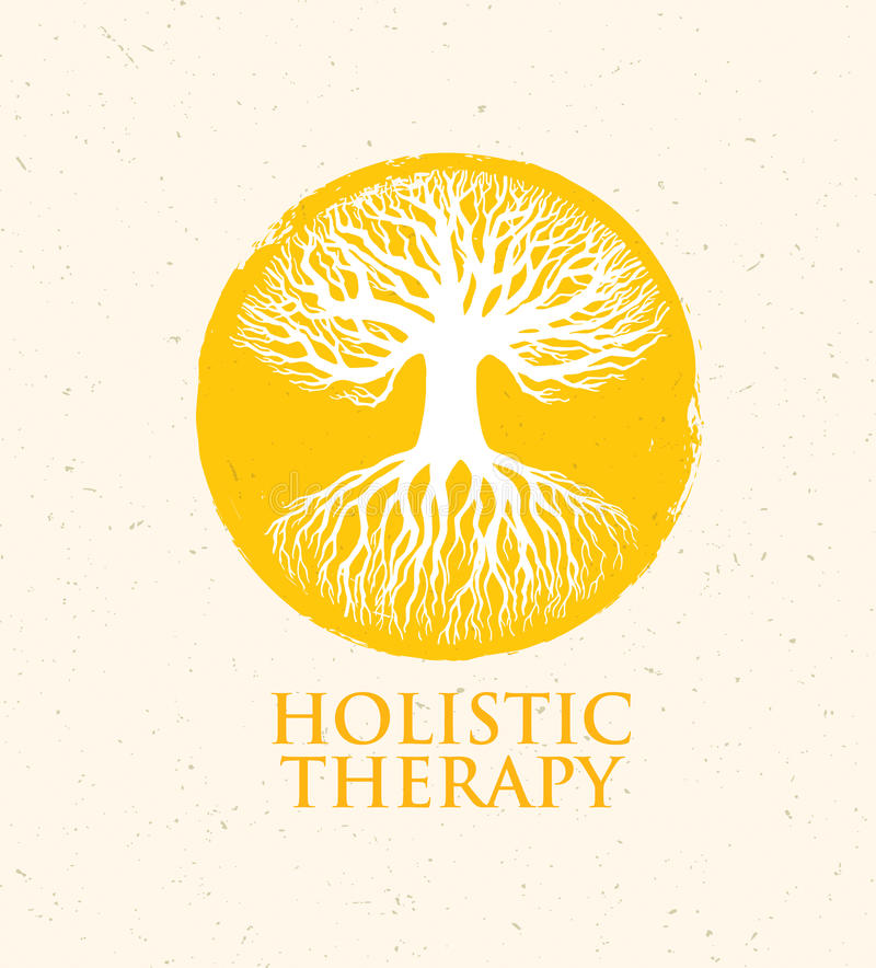 Holistic Therapy Tree With Roots On Organic Paper Background. Natural Eco Friendly Medicine Vector Concept.  vector illustration