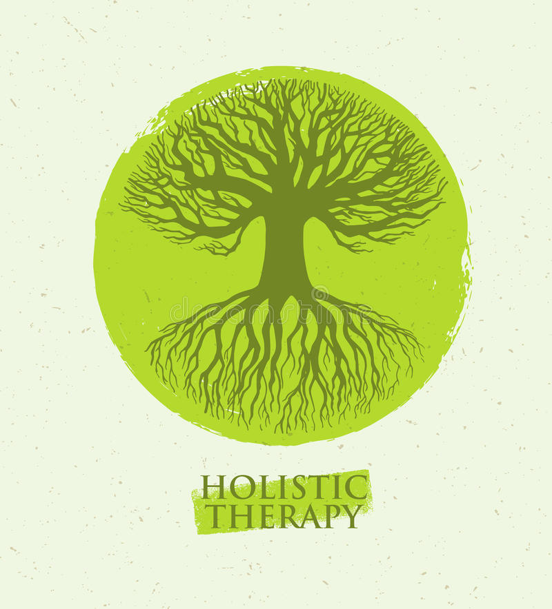 Holistic Therapy Tree With Roots On Organic Paper Background. Natural Eco Friendly Medicine Vector Concept.  stock illustration