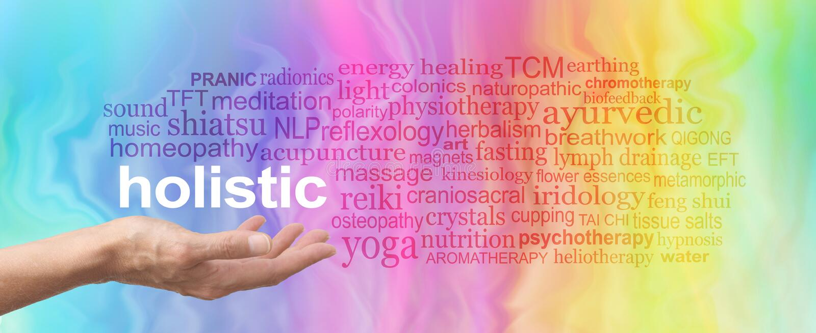Holistic Therapy Word Cloud. Female hand held palm up the word HOLISTIC in white above surrounded by a relevant word cloud on a rainbow colored marble effect royalty free stock photography