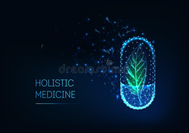 Holistyczny medycyny pojęcie z rozjarzoną futurystyczną niską poligonalną kapsuły pigułką i zieleń liściem royalty ilustracja