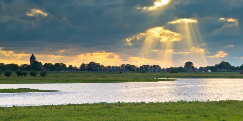 Holländer IJssel Flusslandschaft stockfotos