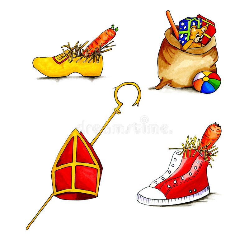 Holländer Sinterklaas-Gegenstände lizenzfreie abbildung