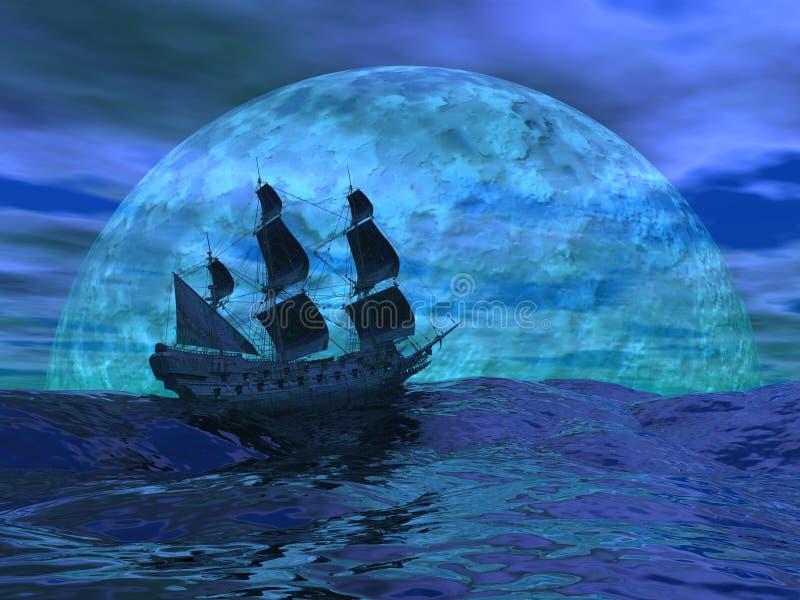 Holländerboot bis zum Nacht - 3D übertragen vektor abbildung