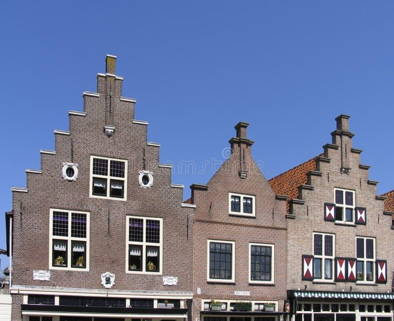 Holländische historische Fassaden stockfotos