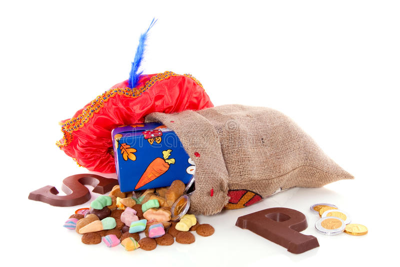 Holländische Sinterklaas Süßigkeit und Geschenke stockfotos
