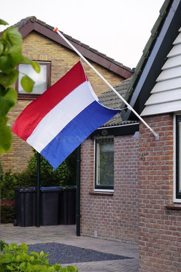 Holländsk dag för flaggahalv stångminne royaltyfria bilder
