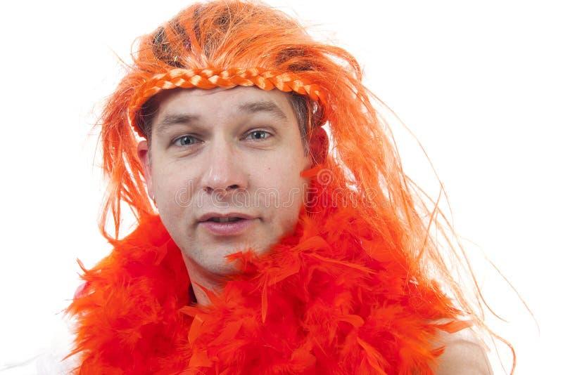 Holländsk orange fotbollsupporter royaltyfria bilder
