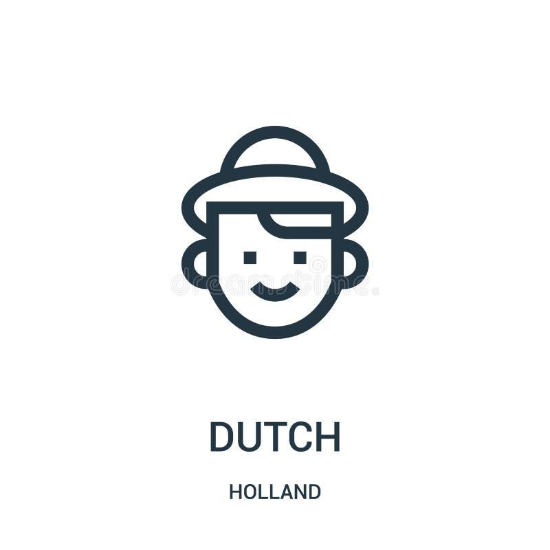 holländsk symbolsvektor från den holland samlingen Tunn linje holländsk illustration för översiktssymbolsvektor Linjärt symbol fö stock illustrationer