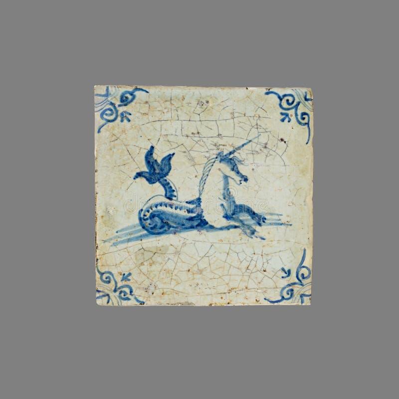 Holländsk tegelplatta från 16th till det 18th århundradet arkivfoto
