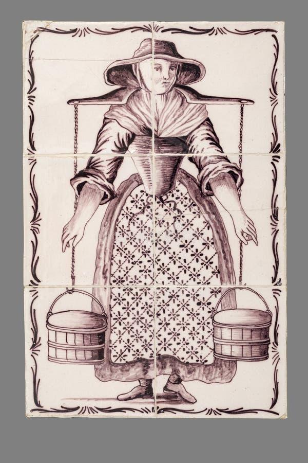 Holländsk tegelplatta från 16th till det 18th århundradet royaltyfri bild